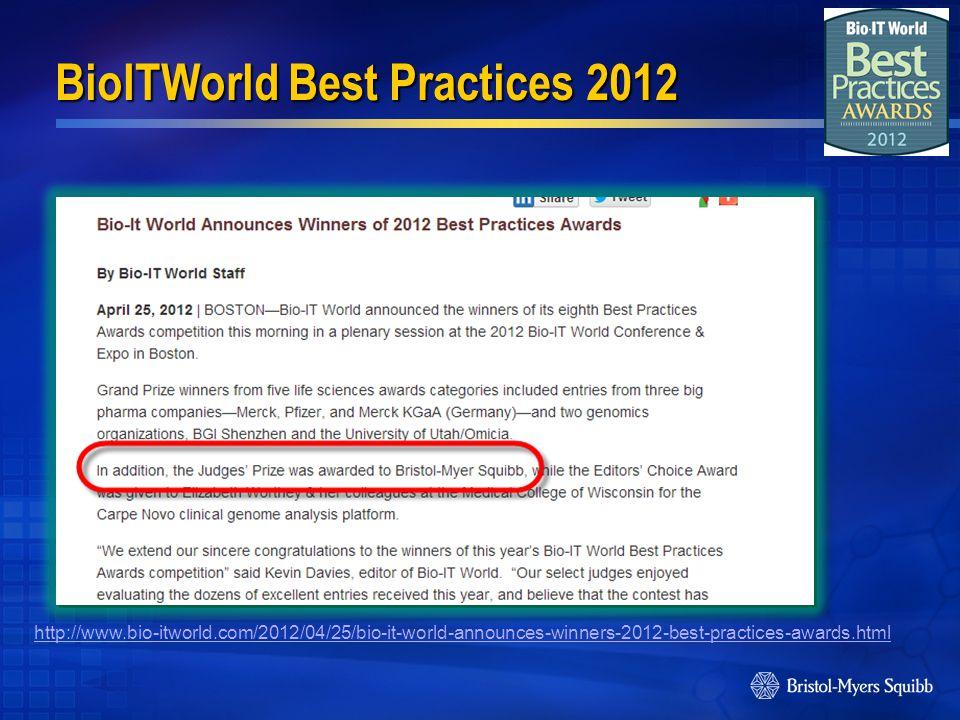BioITWorld Best Practices 2012 http://www.bio-itworld.com/2012/04/25/bio-it-world-announces-winners-2012-best-practices-awards.html