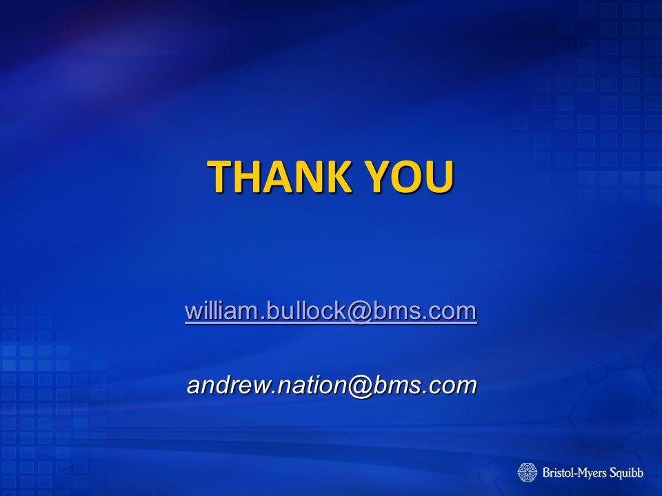THANK YOU william.bullock@bms.com andrew.nation@bms.com