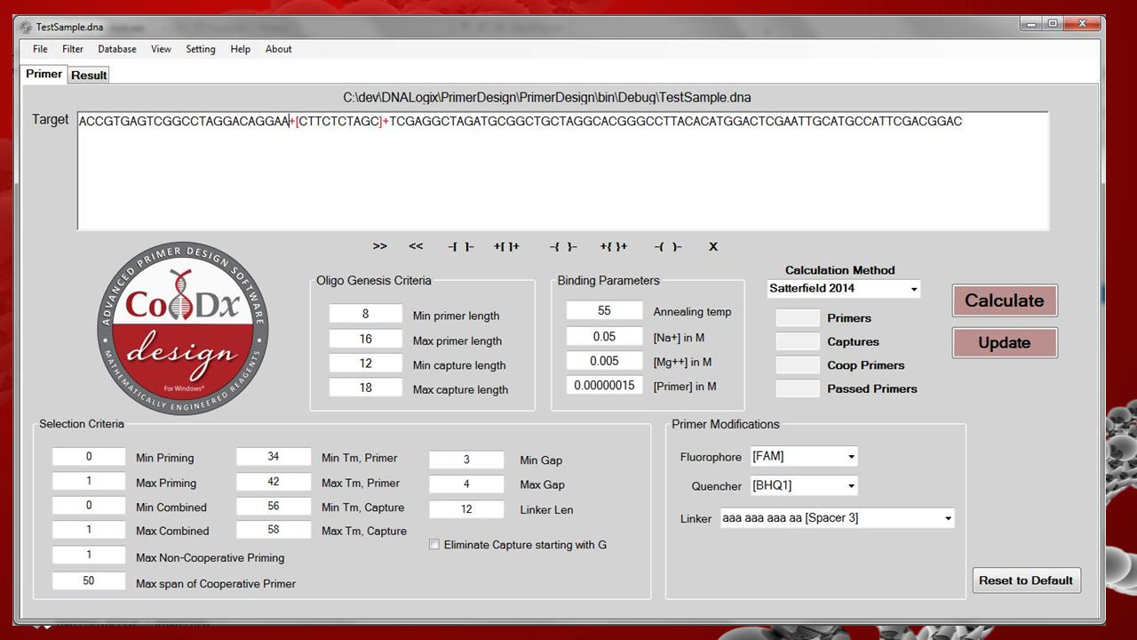 Our software uses advanced algorithms to create CoPrimersOur software uses advanced algorithms to create CoPrimers –Primer & Probe linked together Com
