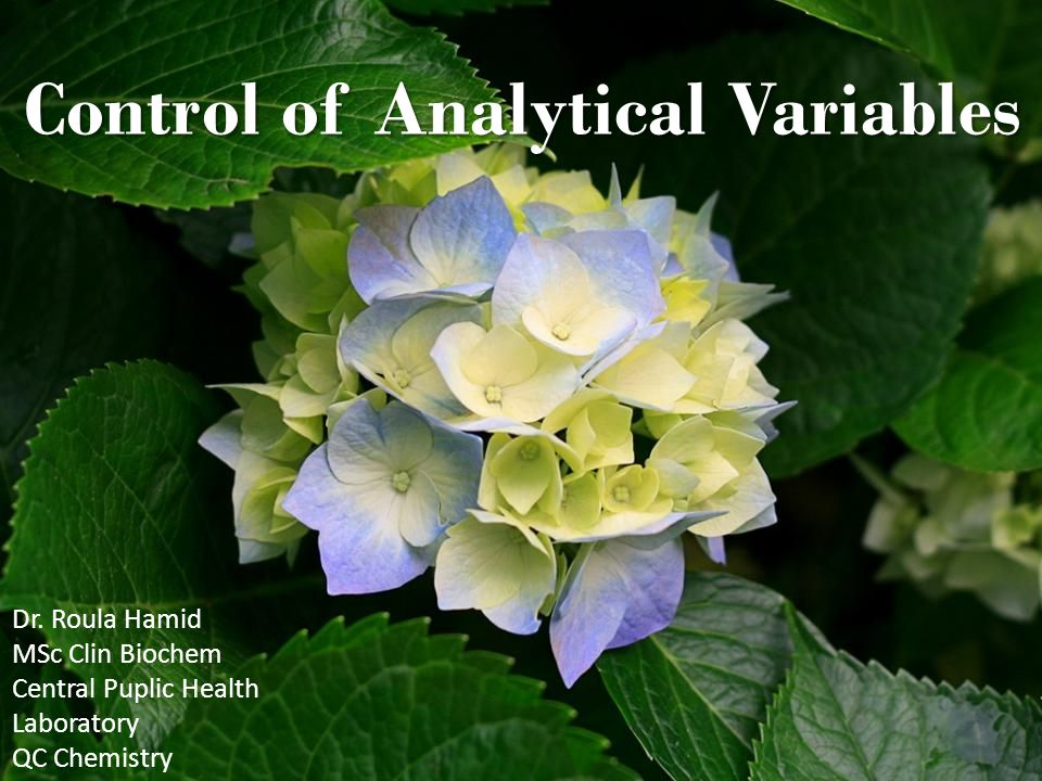 Control of Analytical Variables Dr.