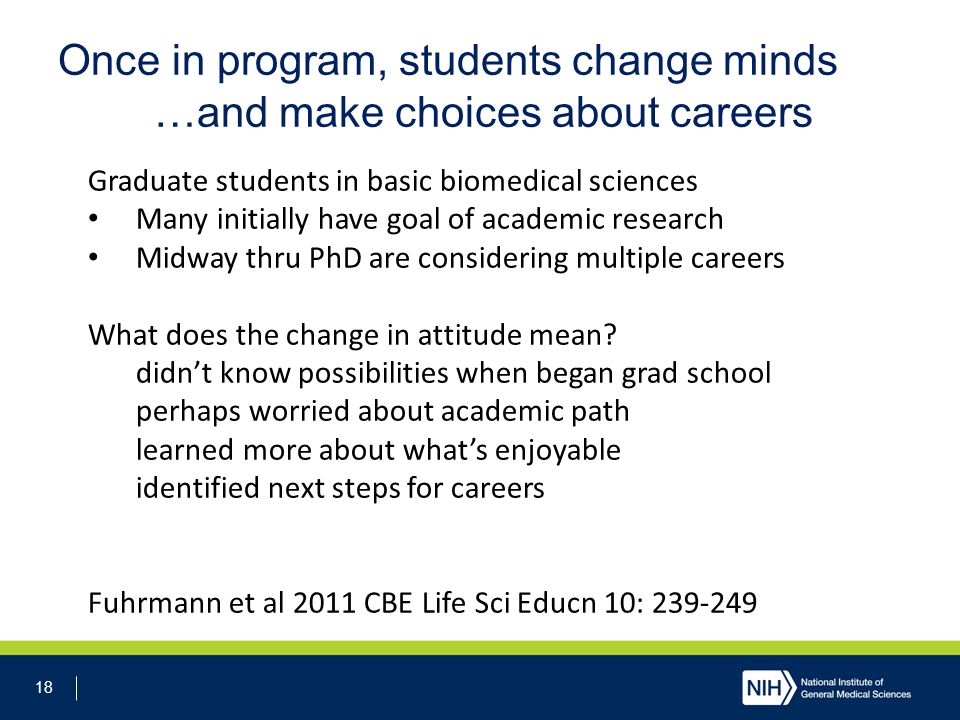 18 Once in program, students change minds …and make choices about careers Graduate students in basic biomedical sciences Many initially have goal of academic research Midway thru PhD are considering multiple careers What does the change in attitude mean.