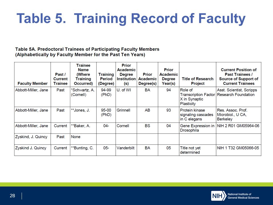 28 Table 5. Training Record of Faculty