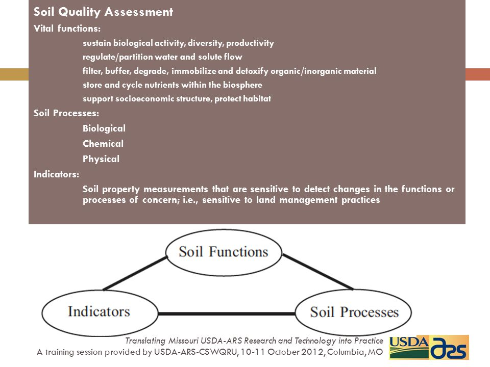 Soil Management Assessment Framework SMAF - site-specific interpretation for soil quality assessment results measured soil indicator data (scores) integrated into a soil quality index index often correlates with value of other soil properties Translating Missouri USDA-ARS Research and Technology into Practice A training session provided by USDA-ARS-CSWQRU, 10-11 October 2012, Columbia, MO