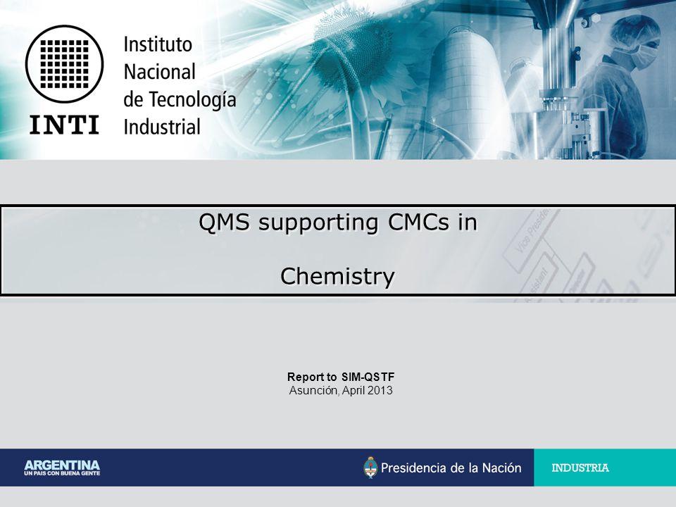 Report to SIM-QSTF Asunción, April 2013 QMS supporting CMCs in Chemistry QMS supporting CMCs in Chemistry