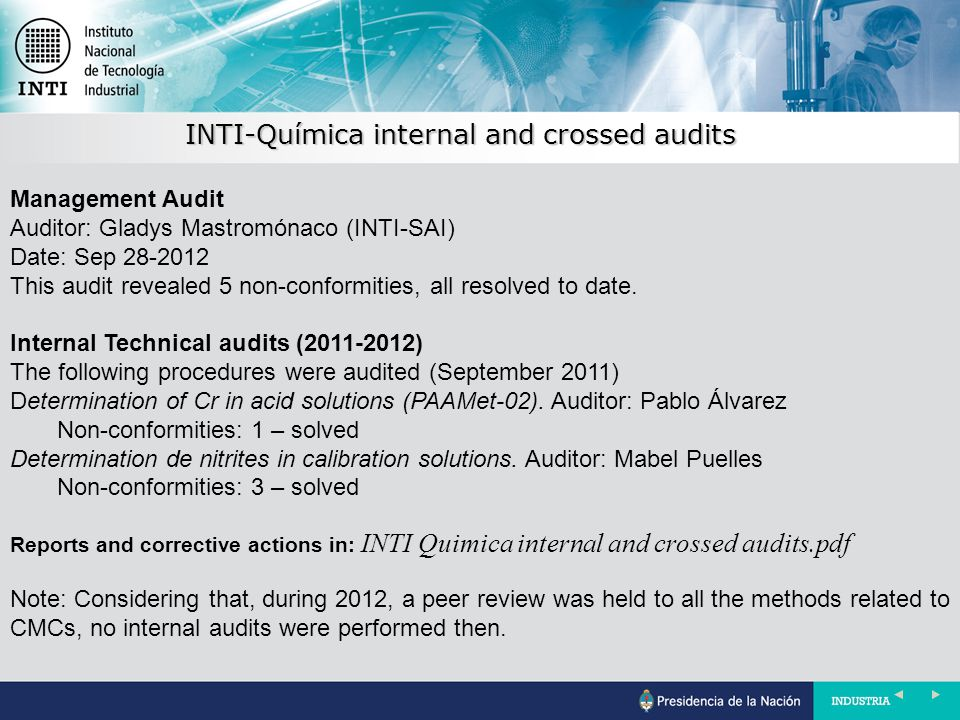 INTI-Química internal and crossed audits Management Audit Auditor: Gladys Mastromónaco (INTI-SAI) Date: Sep 28-2012 This audit revealed 5 non-conformities, all resolved to date.