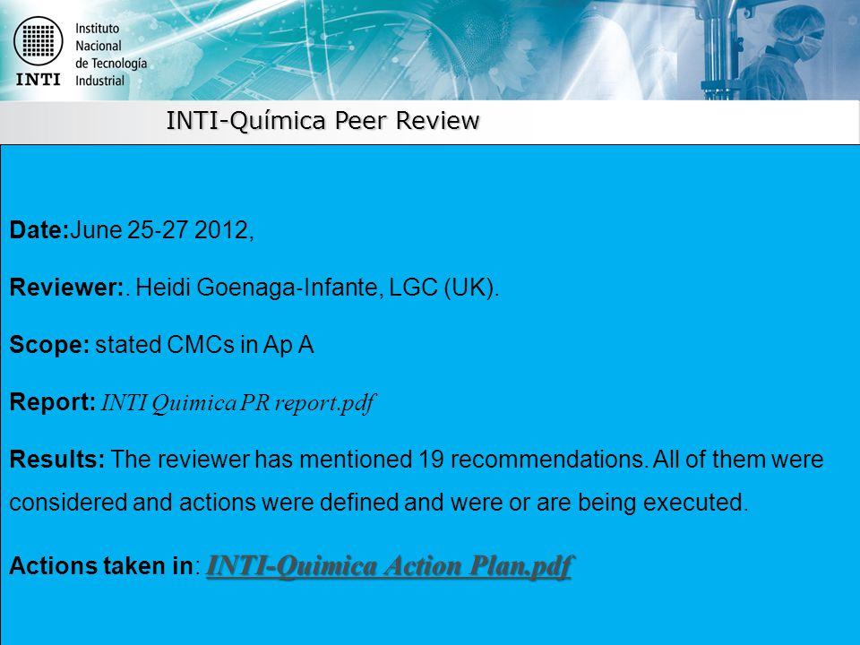INTI-Química Peer Review Date:June 25 ‐ 27 2012, Reviewer:.