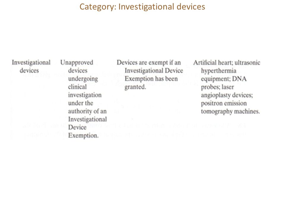 Category: Investigational devices