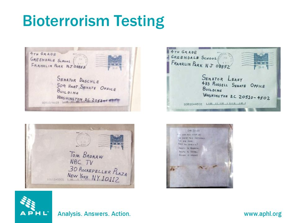 Analysis. Answers. Action.www.aphl.org Bioterrorism Testing