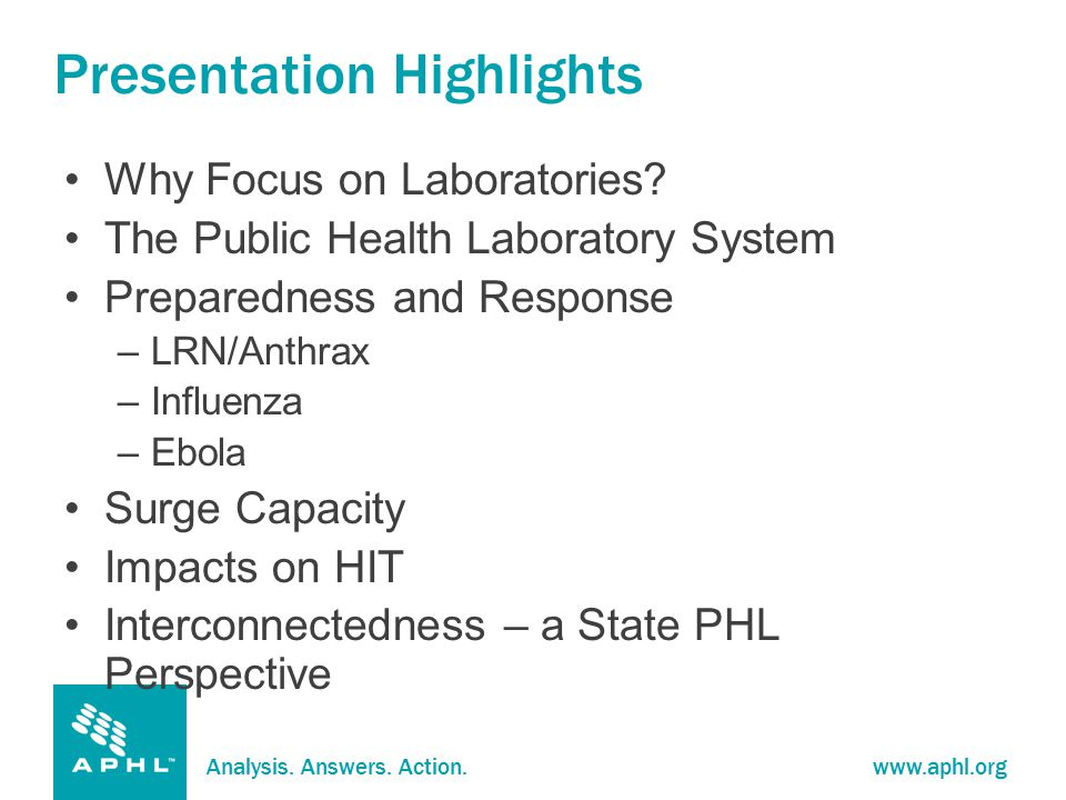 Analysis. Answers. Action.www.aphl.org Presentation Highlights Why Focus on Laboratories.