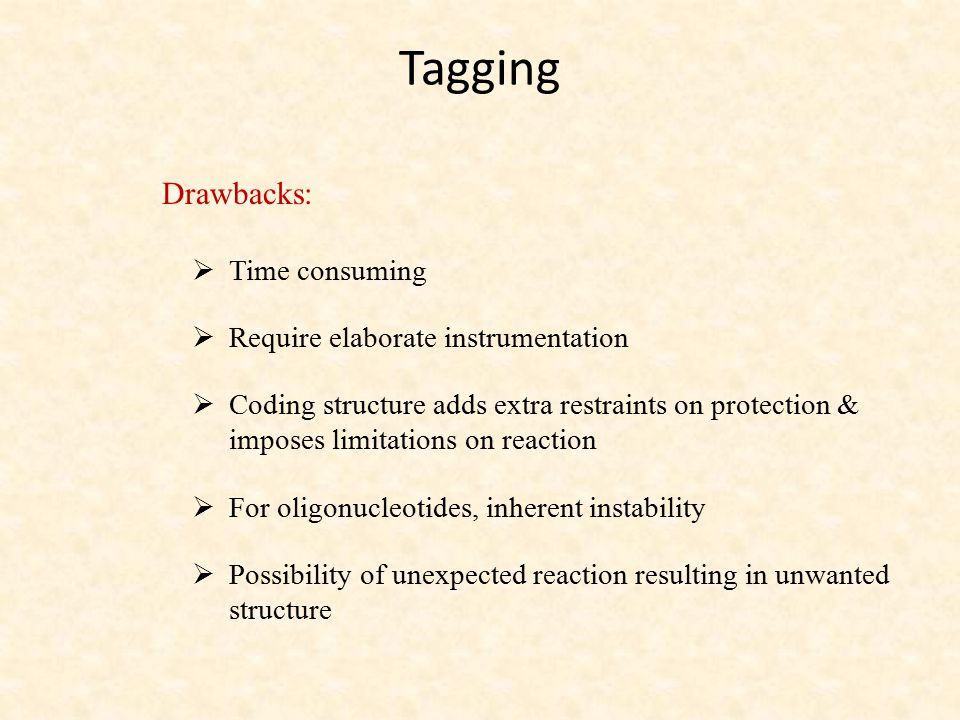 Tagging Drawbacks:  Time consuming  Require elaborate instrumentation  Coding structure adds extra restraints on protection & imposes limitations o