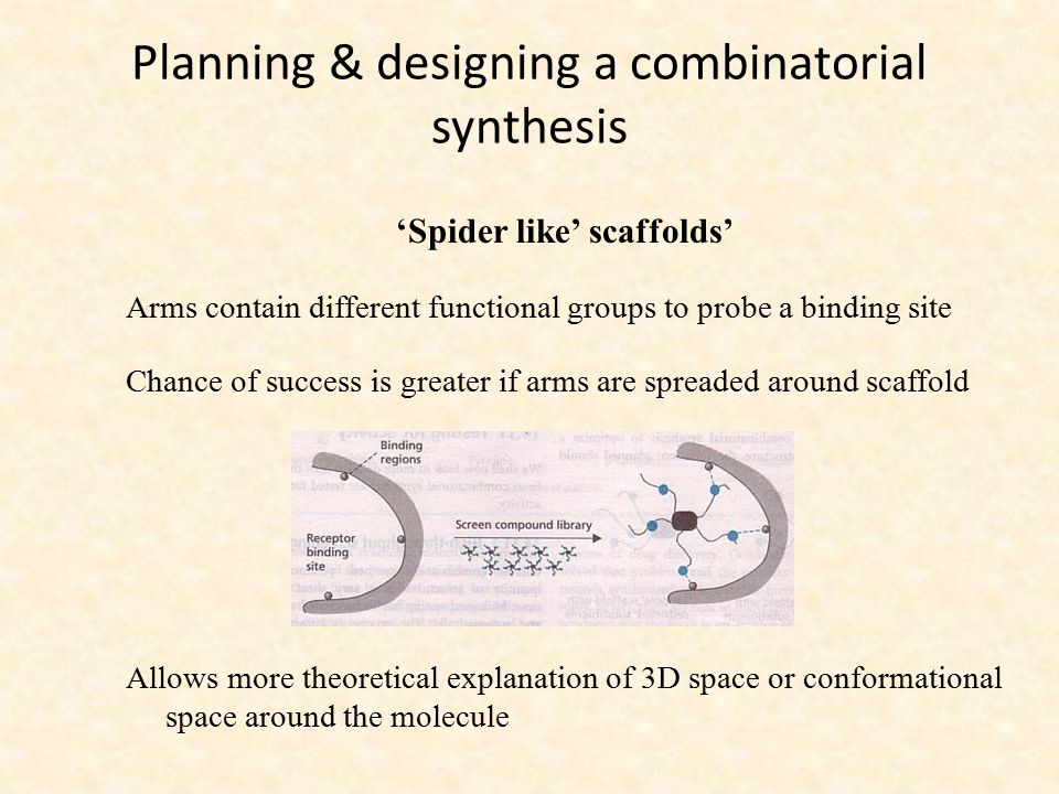 Planning & designing a combinatorial synthesis 'Spider like' scaffolds' Arms contain different functional groups to probe a binding site Chance of suc