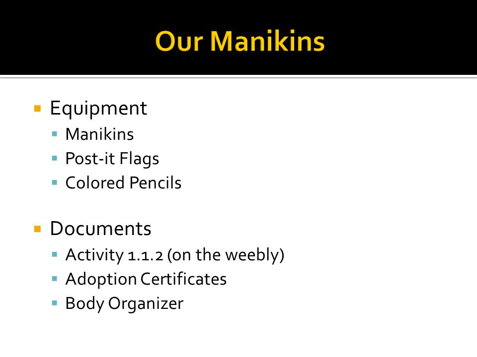  Equipment  Manikins  Post-it Flags  Colored Pencils  Documents  Activity 1.1.2 (on the weebly)  Adoption Certificates  Body Organizer