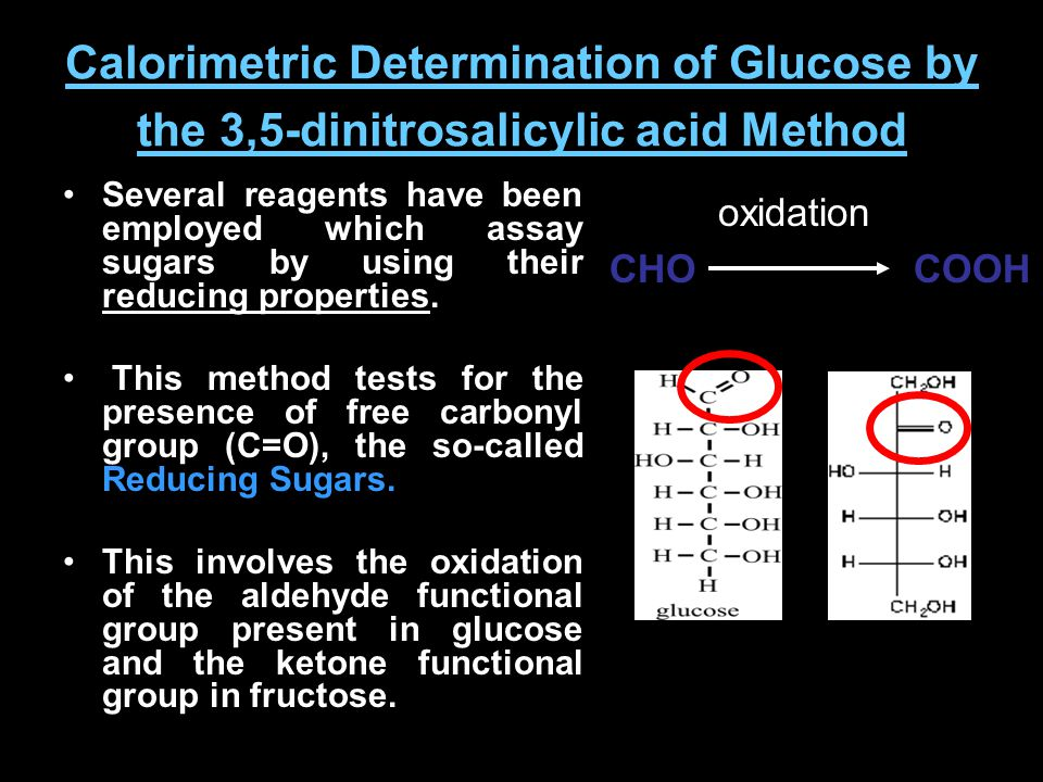 Calorimetric Determination of Glucose by the 3,5-dinitrosalicylic acid Method Several reagents have been employed which assay sugars by using their re