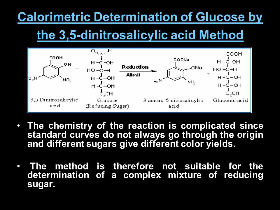 Calorimetric Determination of Glucose by the 3,5-dinitrosalicylic acid Method The chemistry of the reaction is complicated since standard curves do no
