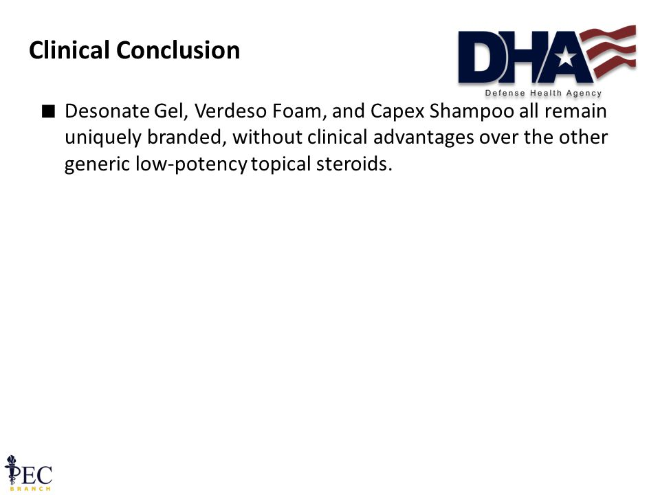 Clinical Conclusion ∎ Desonate Gel, Verdeso Foam, and Capex Shampoo all remain uniquely branded, without clinical advantages over the other generic low-potency topical steroids.