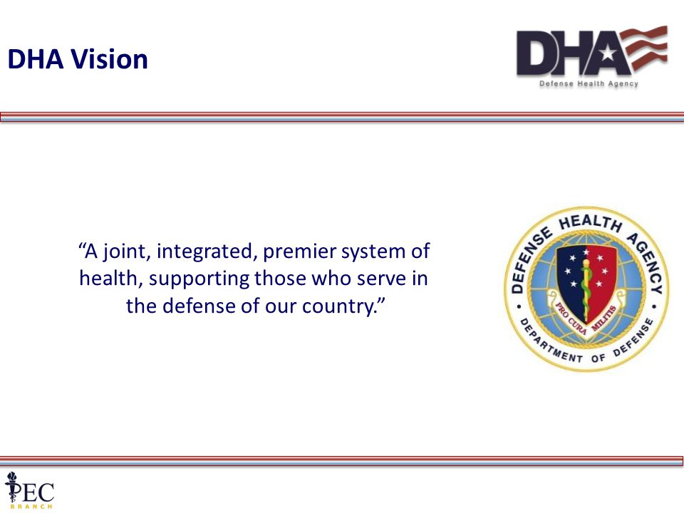 2 DHA Vision A joint, integrated, premier system of health, supporting those who serve in the defense of our country.