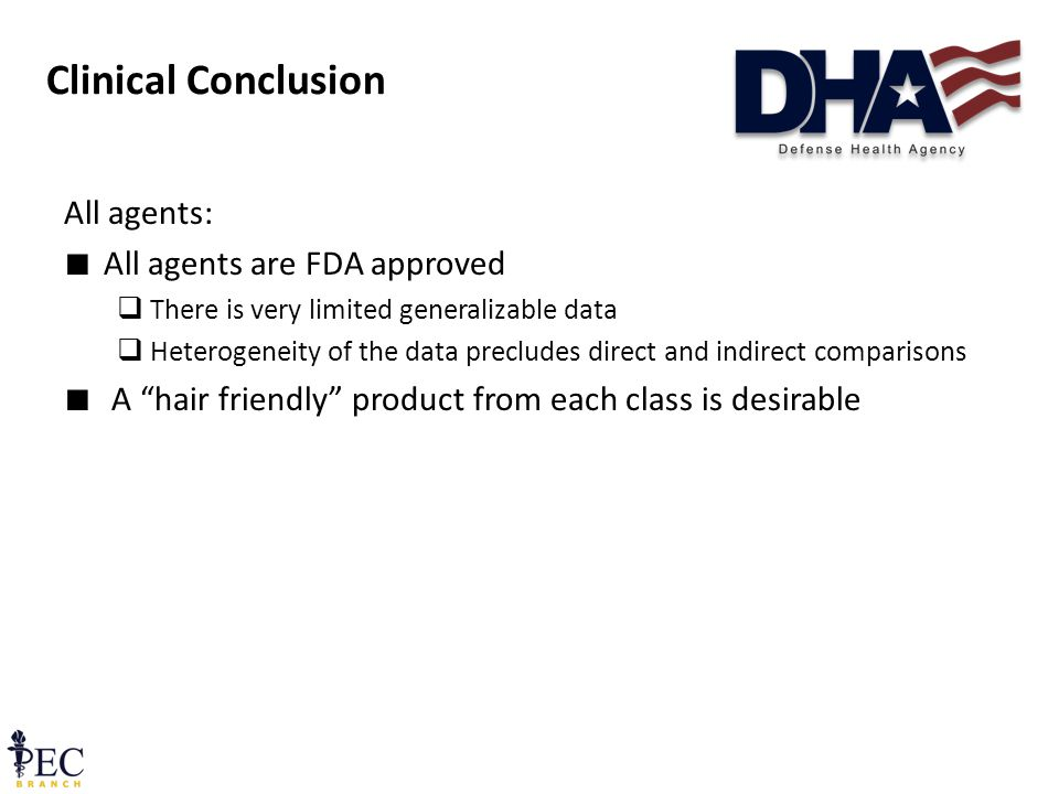 Clinical Conclusion All agents: ∎ All agents are FDA approved  There is very limited generalizable data  Heterogeneity of the data precludes direct and indirect comparisons ∎ A hair friendly product from each class is desirable 20