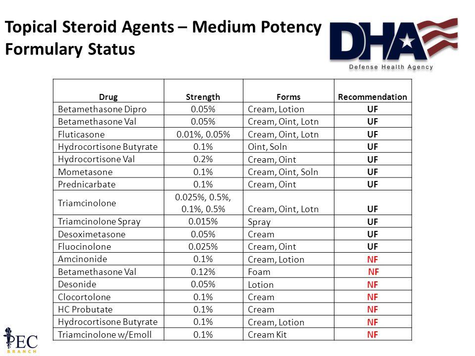 26 Topical Steroid Agents – Medium Potency Formulary Status DrugStrengthFormsRecommendation Betamethasone Dipro0.05% Cream, LotionUF Betamethasone Val0.05% Cream, Oint, LotnUF Fluticasone0.01%, 0.05% Cream, Oint, LotnUF Hydrocortisone Butyrate0.1% Oint, SolnUF Hydrocortisone Val0.2% Cream, OintUF Mometasone0.1% Cream, Oint, SolnUF Prednicarbate0.1% Cream, OintUF Triamcinolone 0.025%, 0.5%, 0.1%, 0.5% Cream, Oint, LotnUF Triamcinolone Spray0.015% SprayUF Desoximetasone0.05% CreamUF Fluocinolone0.025% Cream, OintUF Amcinonide0.1% Cream, LotionNF Betamethasone Val0.12% Foam NF Desonide0.05% LotionNF Clocortolone0.1% CreamNF HC Probutate0.1% CreamNF Hydrocortisone Butyrate0.1% Cream, LotionNF Triamcinolone w/Emoll0.1% Cream KitNF