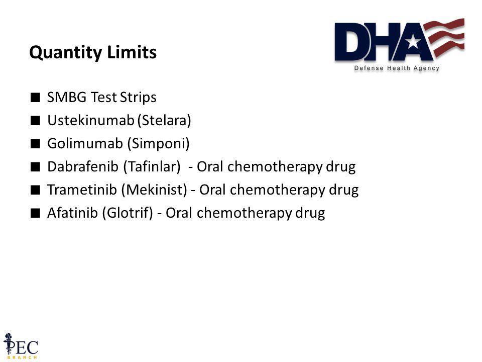 ∎ SMBG Test Strips ∎ Ustekinumab (Stelara) ∎ Golimumab (Simponi) ∎ Dabrafenib (Tafinlar) - Oral chemotherapy drug ∎ Trametinib (Mekinist) - Oral chemotherapy drug ∎ Afatinib (Glotrif) - Oral chemotherapy drug Quantity Limits 14 December 2011 Pre-decisional FOUO41