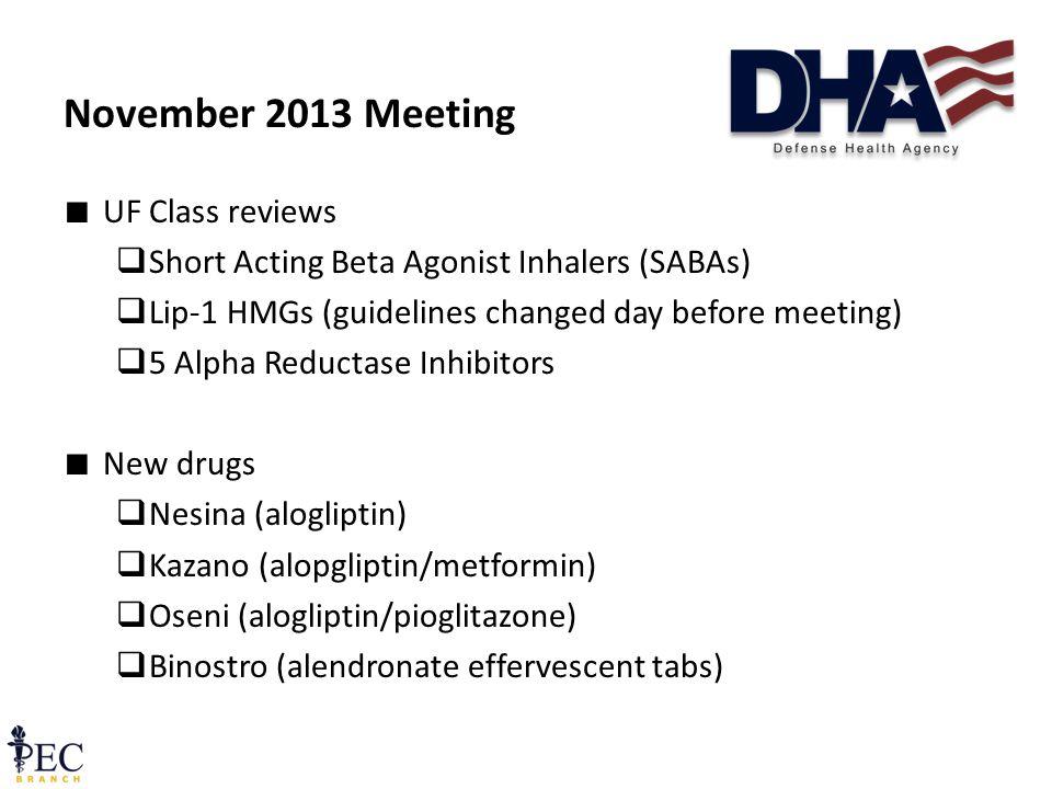 ∎ UF Class reviews  Short Acting Beta Agonist Inhalers (SABAs)  Lip-1 HMGs (guidelines changed day before meeting)  5 Alpha Reductase Inhibitors ∎ New drugs  Nesina (alogliptin)  Kazano (alopgliptin/metformin)  Oseni (alogliptin/pioglitazone)  Binostro (alendronate effervescent tabs) November 2013 Meeting 14 December 2011 Pre-decisional FOUO43