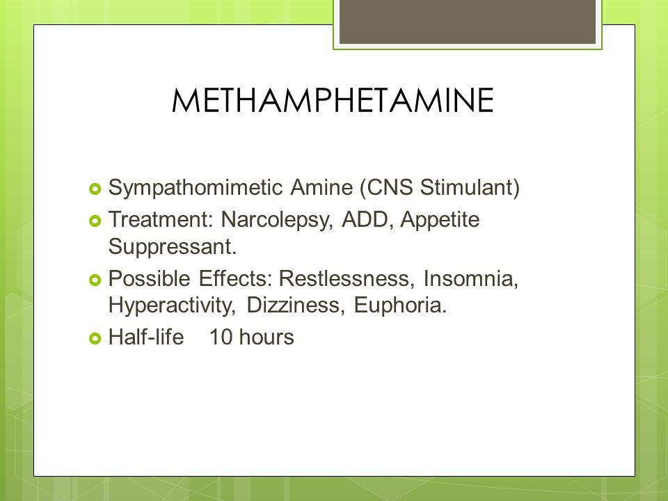 METHAMPHETAMINE  Sympathomimetic Amine (CNS Stimulant)  Treatment: Narcolepsy, ADD, Appetite Suppressant.