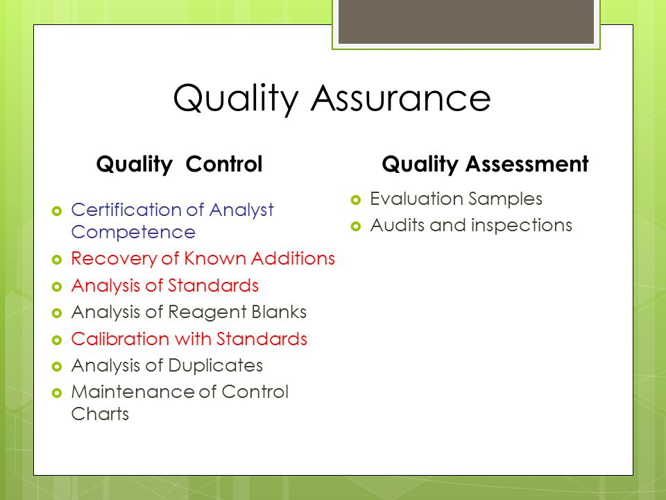 Quality Assurance Quality Control  Certification of Analyst Competence  Recovery of Known Additions  Analysis of Standards  Analysis of Reagent Blanks  Calibration with Standards  Analysis of Duplicates  Maintenance of Control Charts Quality Assessment  Evaluation Samples  Audits and inspections