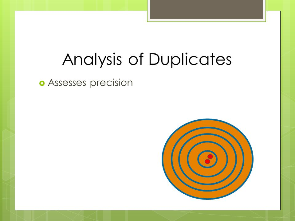  Assesses precision Analysis of Duplicates