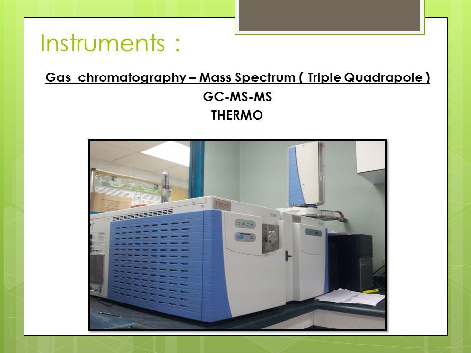 Instruments : Gas chromatography – Mass Spectrum ( Triple Quadrapole ) GC-MS-MS THERMO