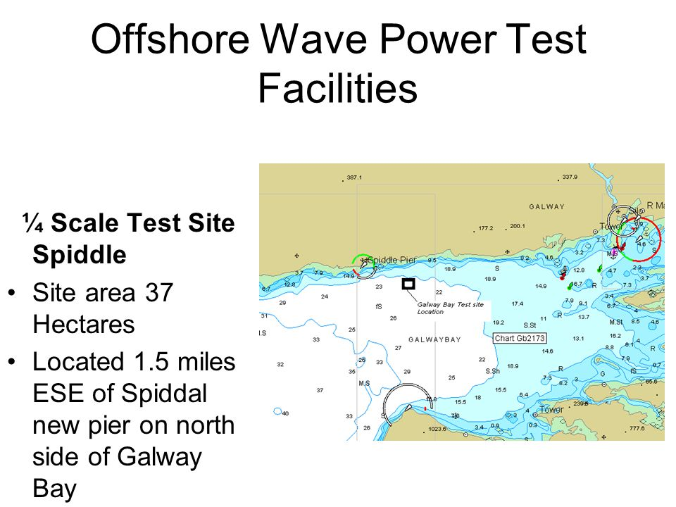 Offshore Wave Power Test Facilities ¼ Scale Test Site Spiddle Site area 37 Hectares Located 1.5 miles ESE of Spiddal new pier on north side of Galway Bay Water depth 20-24 metres Directional wavebuoy recently installed