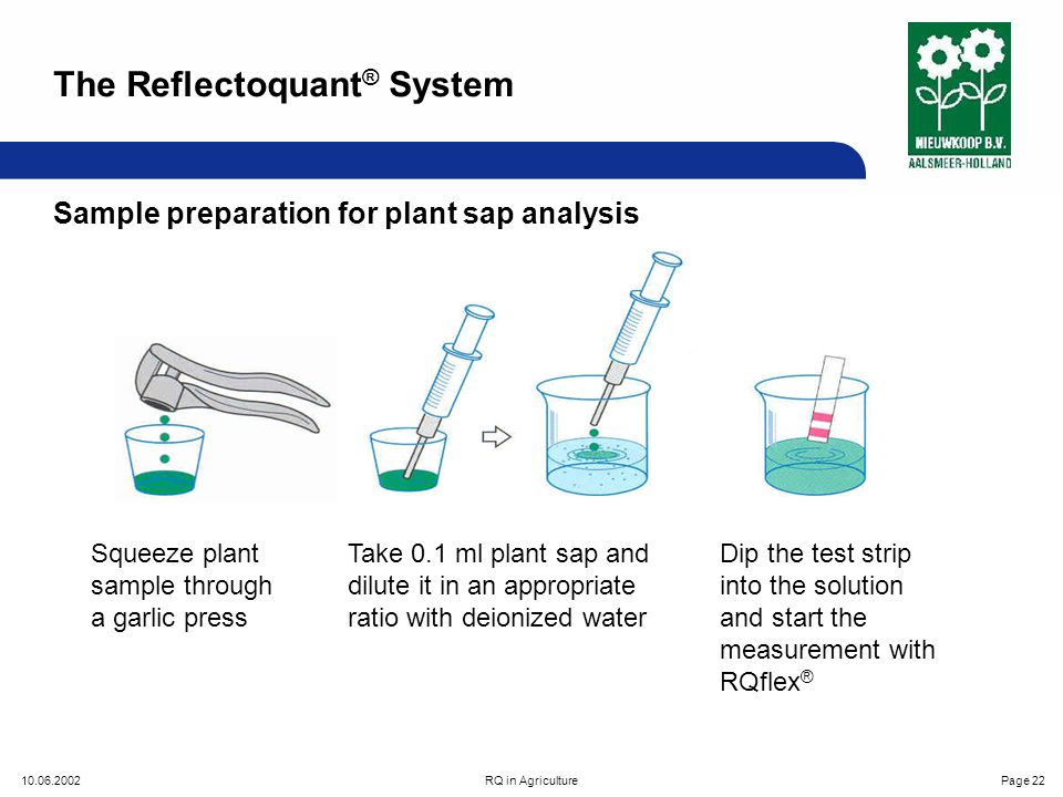 10.06.2002RQ in AgriculturePage 22 Sample preparation for plant sap analysis Squeeze plant sample through a garlic press Take 0.1 ml plant sap and dilute it in an appropriate ratio with deionized water Dip the test strip into the solution and start the measurement with RQflex ® The Reflectoquant ® System