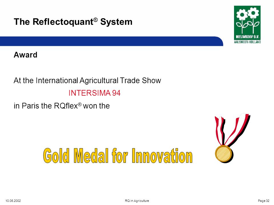 10.06.2002RQ in AgriculturePage 32 Award At the International Agricultural Trade Show INTERSIMA 94 in Paris the RQflex ® won the The Reflectoquant ® System