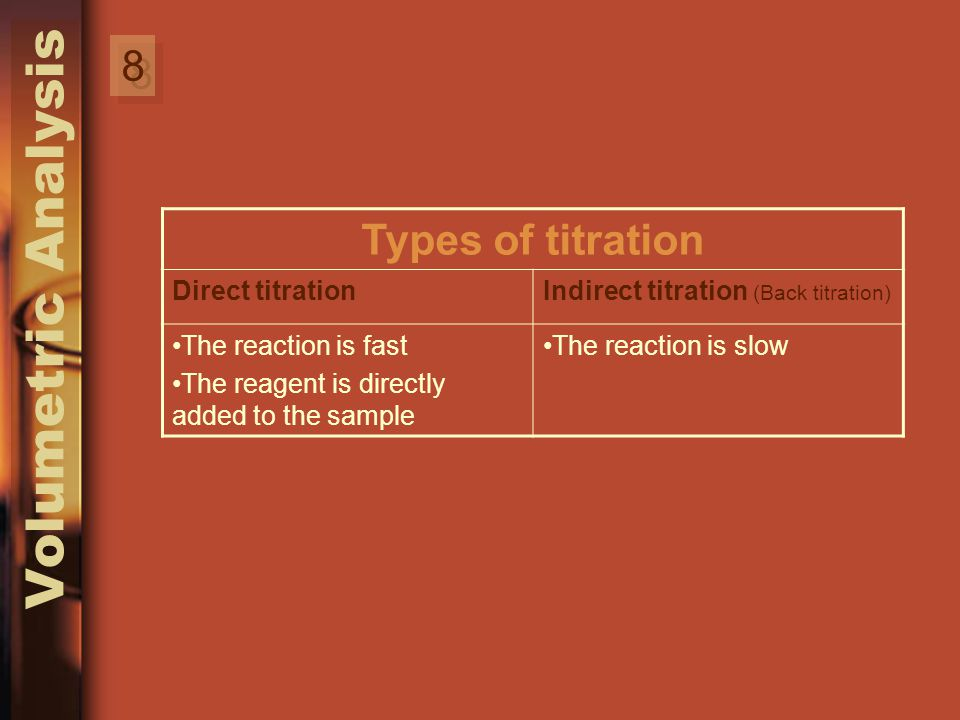 8 8 Types of titration Indirect titration (Back titration) Direct titration The reaction is slowThe reaction is fast The reagent is directly added to the sample