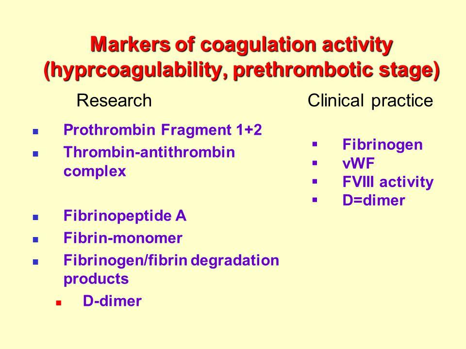 Markers of coagulation activity (hyprcoagulability, prethrombotic stage) Prothrombin Fragment 1+2 Thrombin-antithrombin complex Fibrinopeptide A Fibrin-monomer Fibrinogen/fibrin degradation products D-dimer ResearchClinical practice  Fibrinogen  vWF  FVIII activity  D=dimer