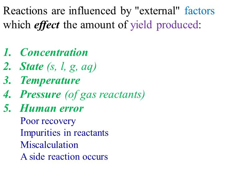 Theoretical yield: amounts of product calculated from the limiting reagent.