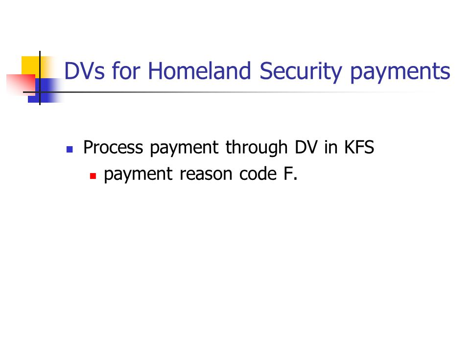 DVs for Homeland Security payments Process payment through DV in KFS payment reason code F.