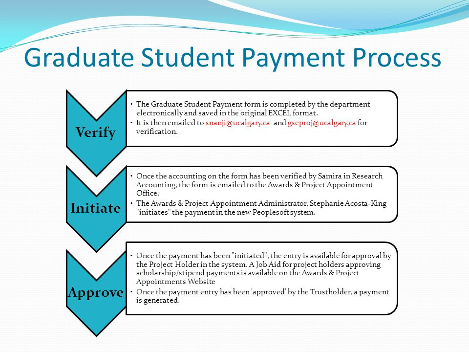 Graduate Student Payment Process Verify The Graduate Student Payment form is completed by the department electronically and saved in the original EXCEL format.