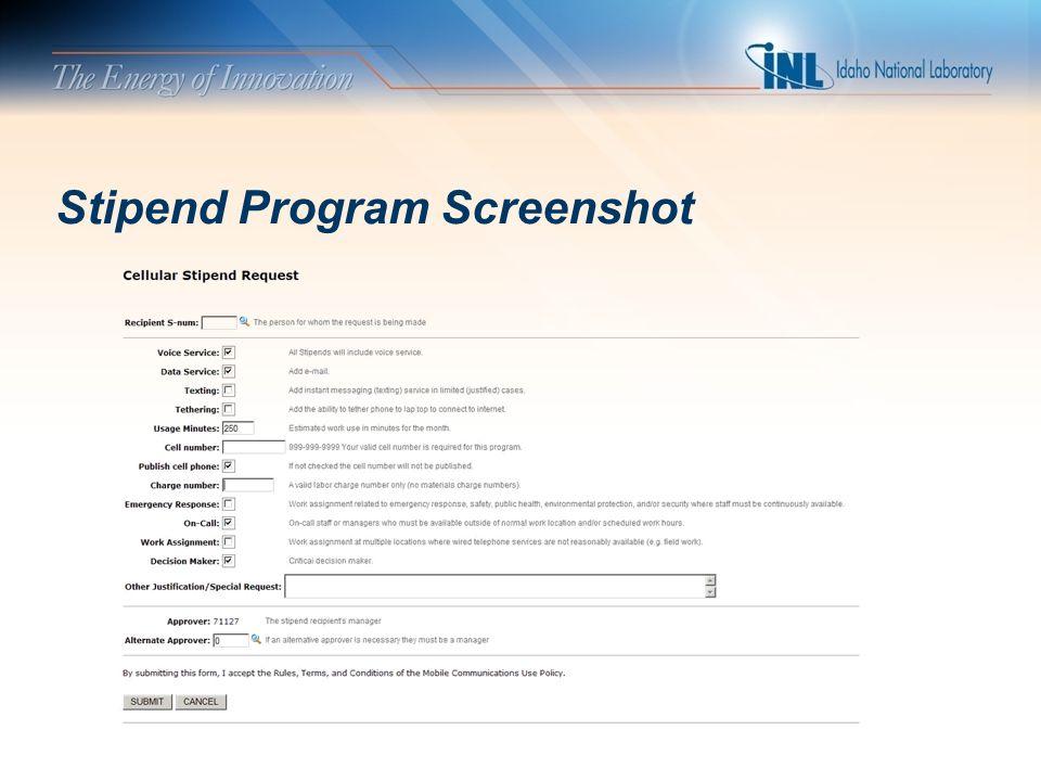 Stipend Program Screenshot