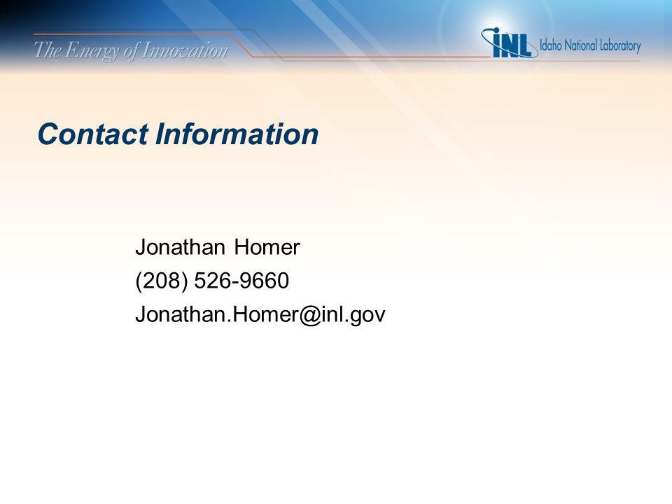 Contact Information Jonathan Homer (208) 526-9660 Jonathan.Homer@inl.gov