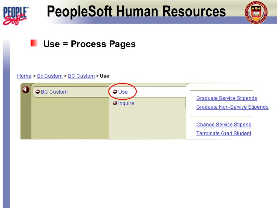 Inquire = Summary Pages PeopleSoft Human Resources