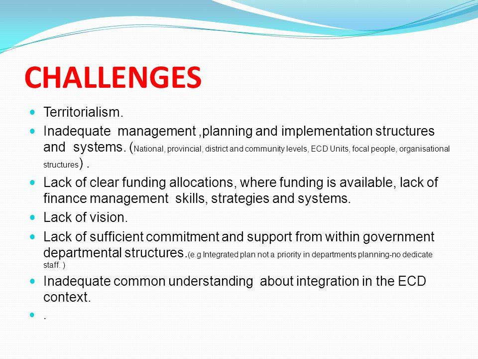 CHALLENGES Territorialism.