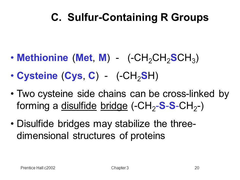 Prentice Hall c2002Chapter 320 C. Sulfur-Containing R Groups Methionine (Met, M) - (-CH 2 CH 2 SCH 3 ) Cysteine (Cys, C) - (-CH 2 SH) Two cysteine sid