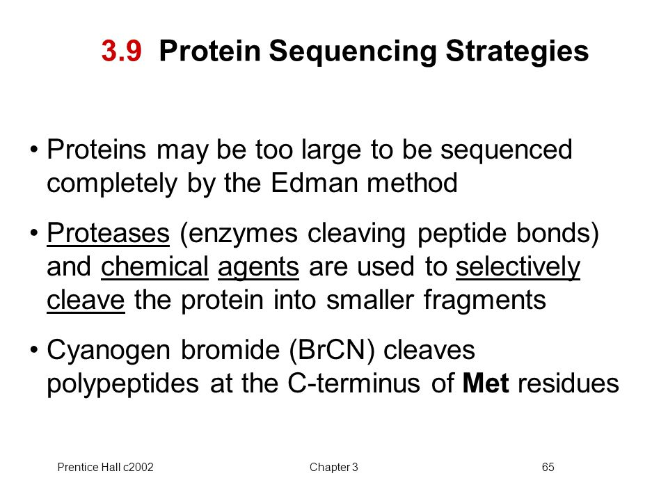 Prentice Hall c2002Chapter 365 3.9 Protein Sequencing Strategies Proteins may be too large to be sequenced completely by the Edman method Proteases (enzymes cleaving peptide bonds) and chemical agents are used to selectively cleave the protein into smaller fragments Cyanogen bromide (BrCN) cleaves polypeptides at the C-terminus of Met residues