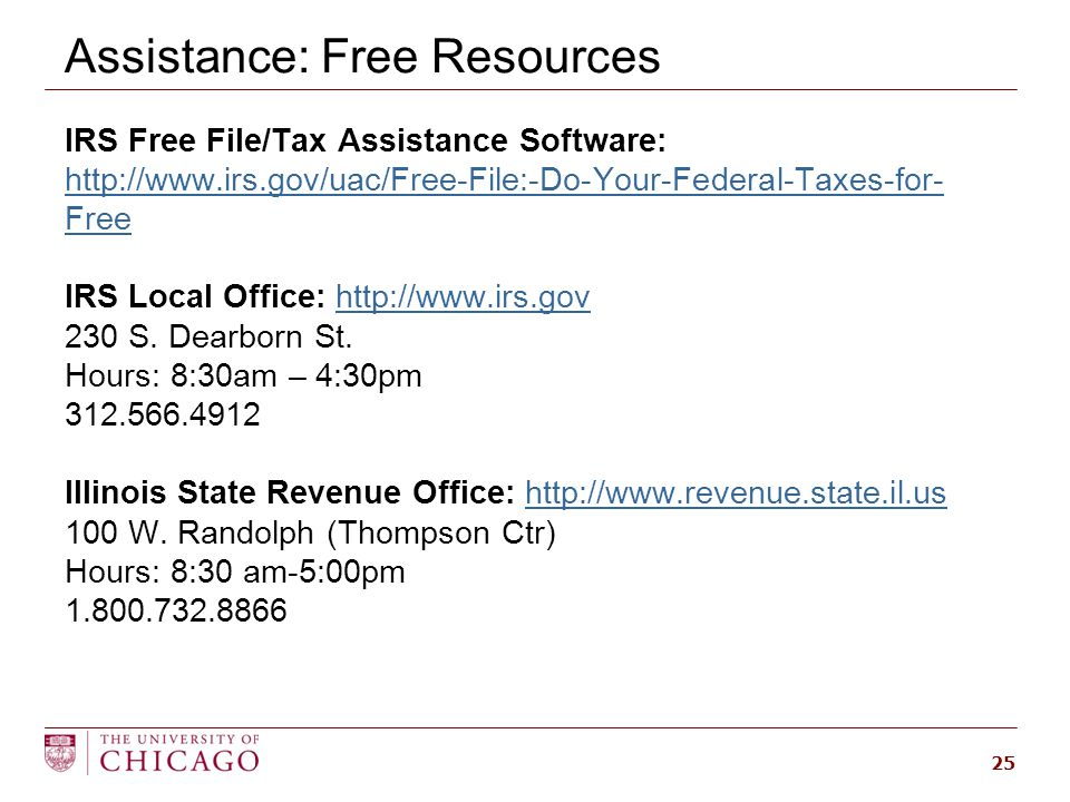 Assistance: Free Resources 25 IRS Free File/Tax Assistance Software: http://www.irs.gov/uac/Free-File:-Do-Your-Federal-Taxes-for- Free http://www.irs.gov/uac/Free-File:-Do-Your-Federal-Taxes-for- Free IRS Local Office: http://www.irs.govhttp://www.irs.gov 230 S.