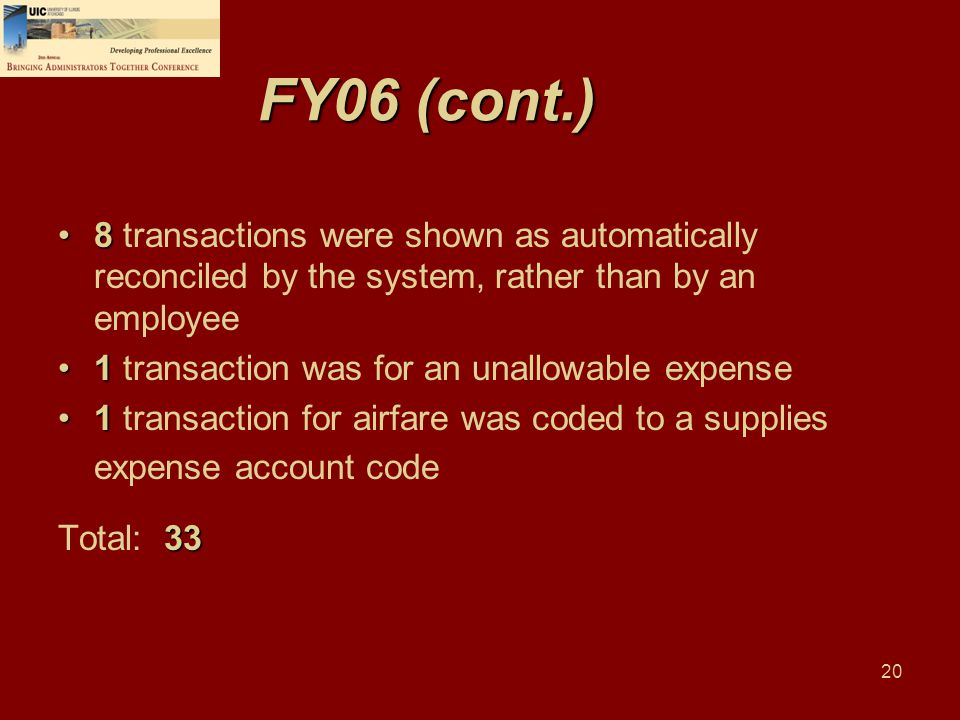 20 FY06 (cont.) 88 transactions were shown as automatically reconciled by the system, rather than by an employee 11 transaction was for an unallowable