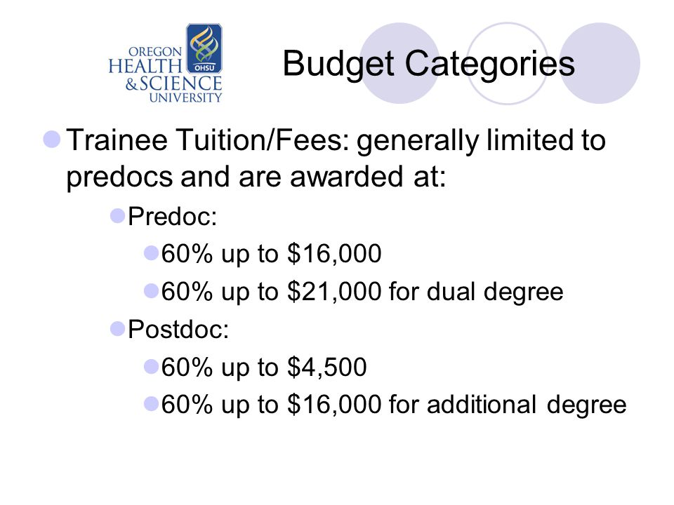 Budget Categories Trainee Tuition/Fees: generally limited to predocs and are awarded at: Predoc: 60% up to $16,000 60% up to $21,000 for dual degree Postdoc: 60% up to $4,500 60% up to $16,000 for additional degree