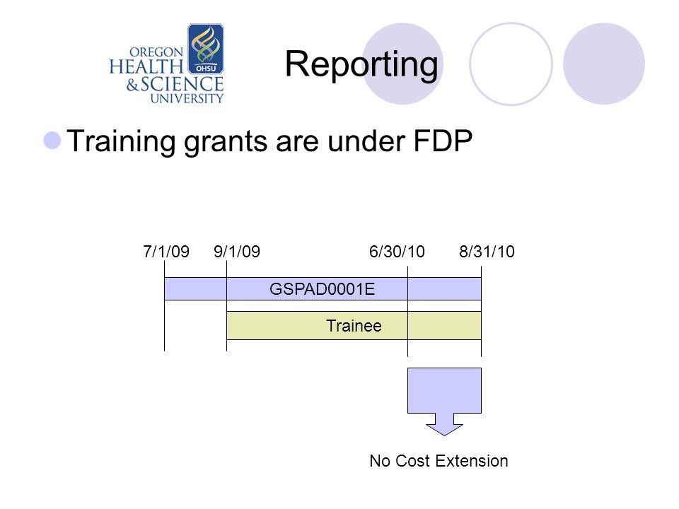 Reporting Training grants are under FDP GSPAD0001E Trainee 7/1/09 9/1/09 6/30/10 8/31/10 No Cost Extension