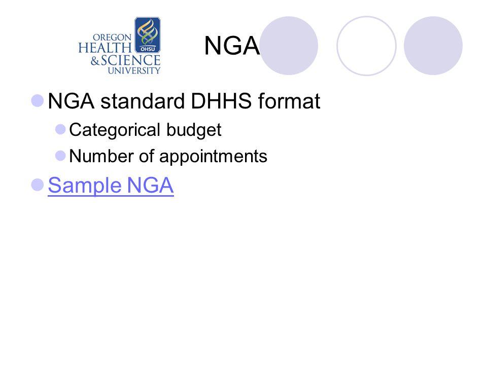 NGA NGA standard DHHS format Categorical budget Number of appointments Sample NGA