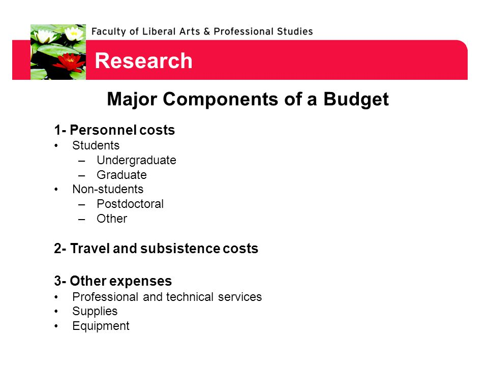 Research 1- Personnel costs Students –Undergraduate –Graduate Non-students –Postdoctoral –Other 2- Travel and subsistence costs 3- Other expenses Professional and technical services Supplies Equipment Major Components of a Budget