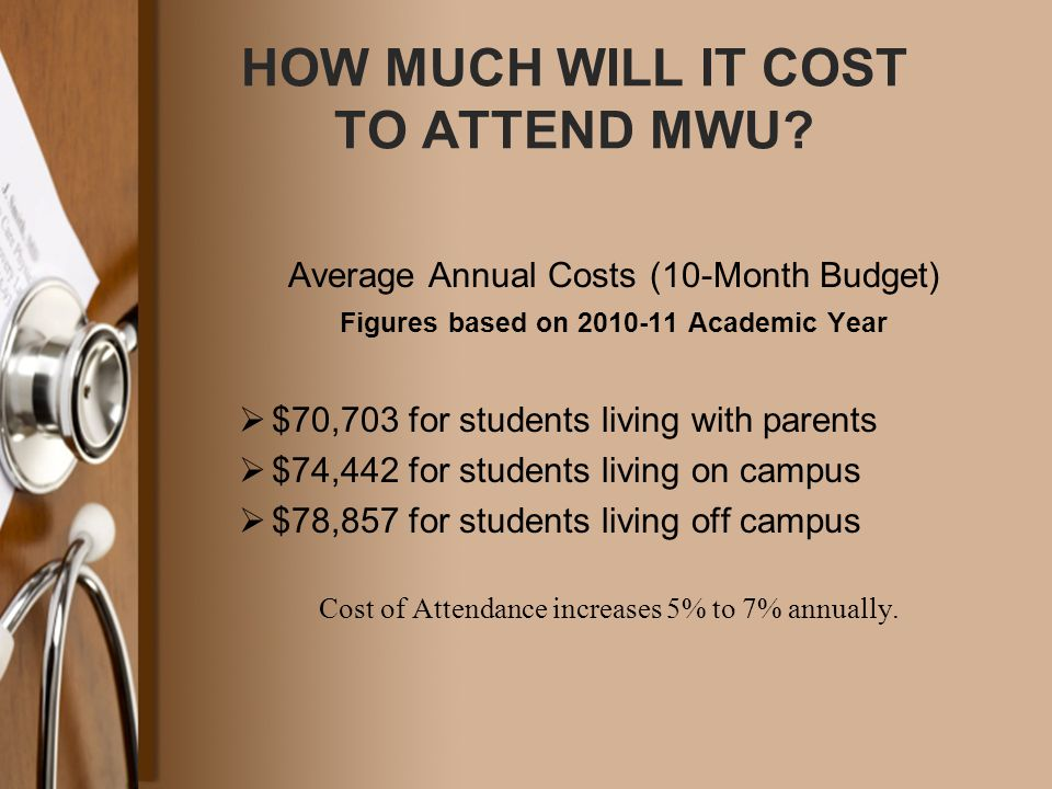 HOW MUCH WILL IT COST TO ATTEND MWU? Average Annual Costs (10-Month Budget) Figures based on 2010-11 Academic Year  $70,703 for students living with