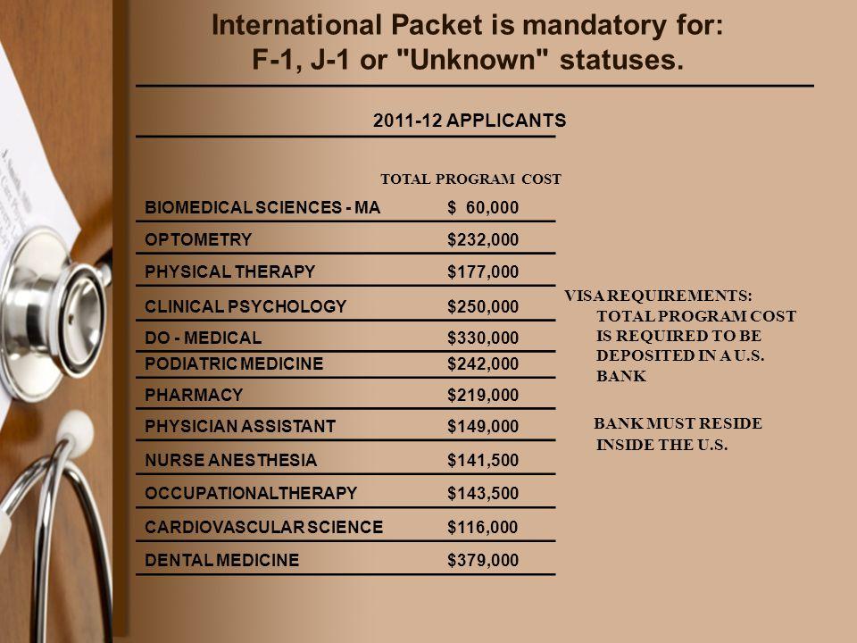 International Packet is mandatory for: F-1, J-1 or